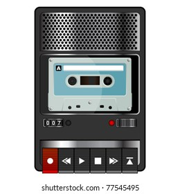 Vintage audio tape recorder isolated over white background