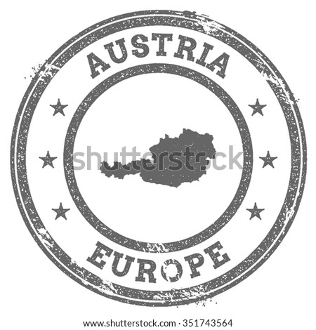 Vintage Austria Stamp With Continent Name Grunge Rubber Map Europe And Text