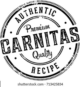 Vintage Authentic Pork Carnitas Menu Design Stamp