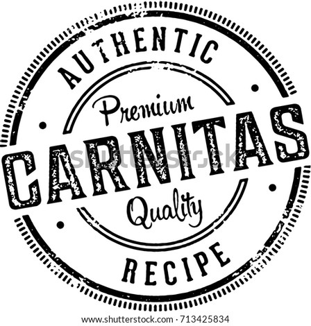 Vintage Authentic Pork Carnitas Menu Design Stock Vector Royalty