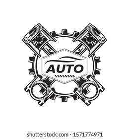 Vintage Auto Car Logo Badge With Piston And Gears Element