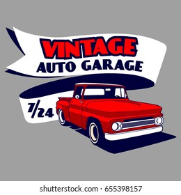 Vintage Auto Garage vector T-shirt design