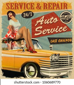 Vintage Auto Service retro poster with retro car and pin-up girl.