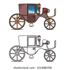 Vintage automobile or old car, XIX century cab or first electric vehicle. Carriage or chariot, buggy or wagon, wheeled dormeuse, classic stagecoach icon or clarence. Steam crew. Transportation