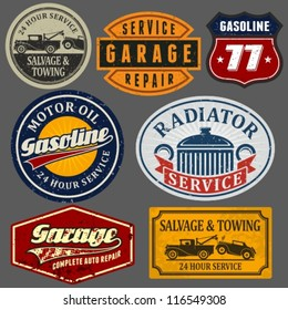Vintage automotive labels and signs set.
