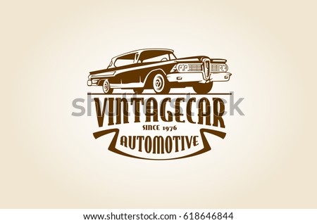 Vintage Automotive Logo Template Image Retro Stock Vector Royalty - Classic car company