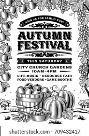 Vintage Autumn Festival Poster Black And White. Editable vector illustration in retro woodcut style with clipping mask.