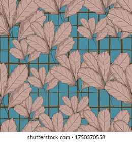 Vintage autumn leaf seamless pattern on green background. Tree leaves backdrop. Autumn floral wallpaper. Retro vector illustration. For fabric design, textile print, wrapping paper, cover.