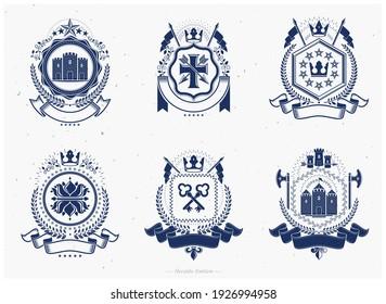 Vintage award designs, vintage heraldic Coat of Arms. Vector emblems. Vintage design elements collection.