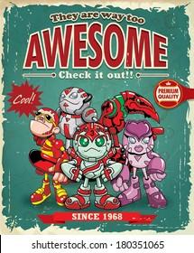 Vintage awesome super hero poster design