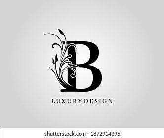 Vintage B Letter Floral Design. Classic Monogram Alphabetical Icon for book design, brand name, stamp, Restaurant, Boutique, Notary, Hotel.