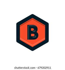 vintage b letter in polygon logo design