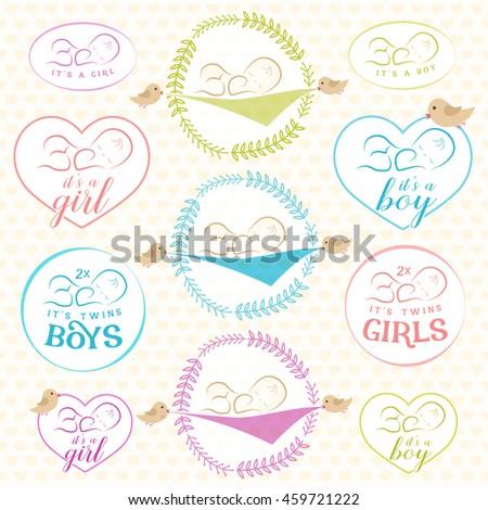 Vintage baby girl boy badge set stock vector royalty free vintage baby girl and boy badge set design elements for greeting baby shower invitation filmwisefo