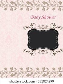 Vintage Baby Shower invitation card with ornate elegant retro abstract floral design. Vector illustration.