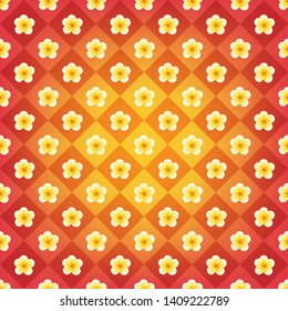 Vintage backdrop in orange, red and yellow colors. Vector plumeria flowers repeated strict order. Radial gradient effect with colered chessboard