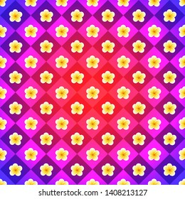 Vintage backdrop in pink, violet and yellow colors. Vector plumeria flowers repeated strict order. Radial gradient effect with colered chessboard