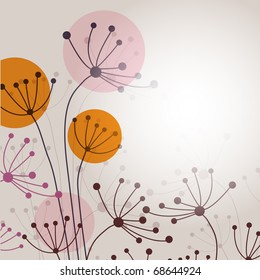 Vintage background with abstract flowers