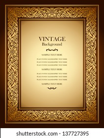 Vintage background, antique ornamental frame, victorian gold ornament, beautiful old paper, luxury certificate, award, royal diploma, ornate cover page, floral pattern, achievement template