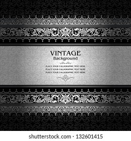 Vintage background, antique, victorian silver ornament, baroque frame, beautiful old paper, royal card, ornate cover page, label; floral luxury ornamental pattern template for design