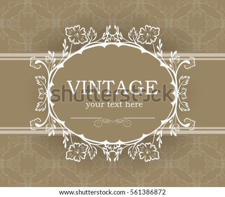 Vintage Background Decorative Frame Elegant Design Stock Vector