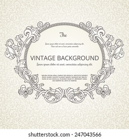 Vintage background with decorative round frame