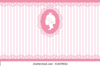 Vintage background design. Beautiful woman face silhouette in profile. Cute vintage frame with ladies silhouette. On linear pink background