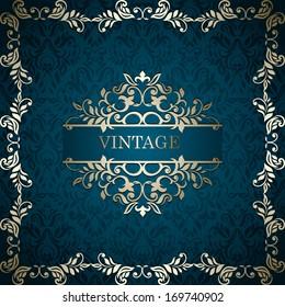 Vintage background with designed frames, card, invitation, album cover