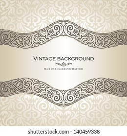 Vintage background, elegance antique, victorian, floral ornament, baroque frame, beautiful invitation, classical old style card, ornate page cover, label, royal luxury, ornamental pattern design