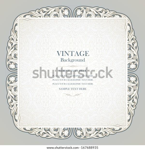 Vintage Background Elegant Wedding Invitation Card Stock
