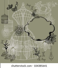 Vintage background - fashion and sewing vector illustration