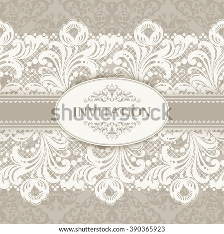 9d005f7709 Vintage background with floral seamless lace borders. Template for greeting  card