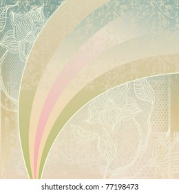 vintage background with flowers and rainbow - Shutterstock ID 77198473