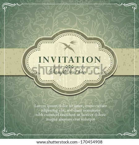 vintage background frame invitation template vector stock vector