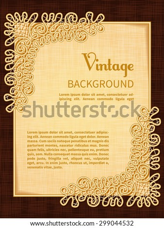 Vintage Background Frame Lace Template Invitation Congratulations