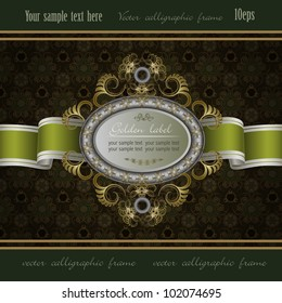 Vintage background with gold frame of abstract plant and green ribbon
