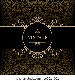 Vintage background, gold label with swirly decoration, ornamental frame template, vector eps10