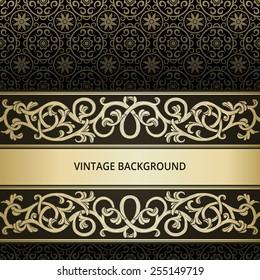 Vintage background with golden flourish element
