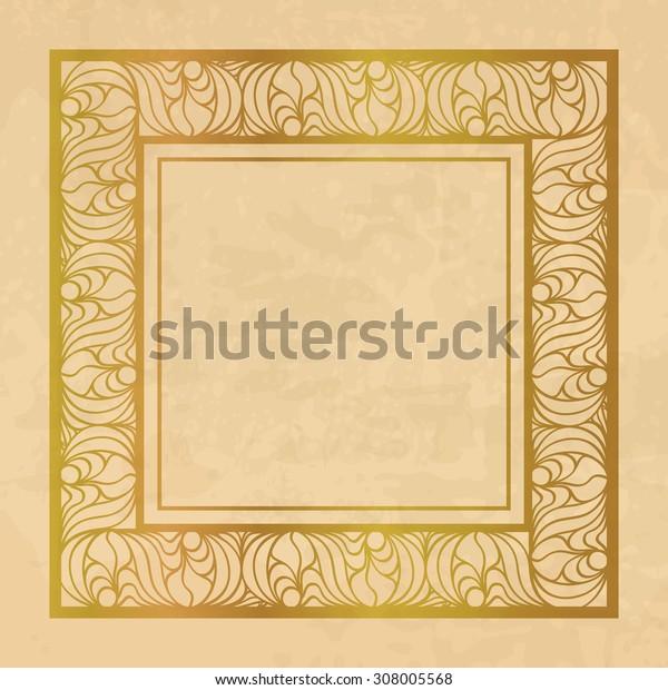 Vintage background with a golden ornamental frame