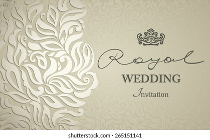 Vintage background, greeting card, invitation with lace ornament, abstract floral pattern template for wedding