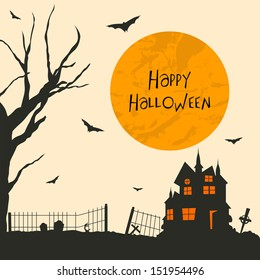 Vintage background for Happy Halloween party with haunted house, dead tree and flying bats.