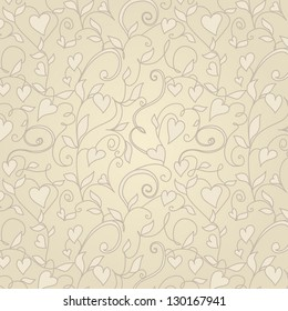 Vintage background with hearts ornament. Floral pattern with hearts.