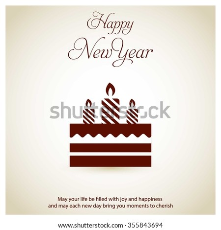 Vintage Background With Icon Happy New Year Typography And Birthday Cake