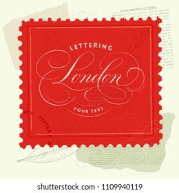 Vintage Background with London Lettering Design.