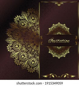 Vintage background mandala business card invitation with golden lace ornaments and art deco floral decorative elements