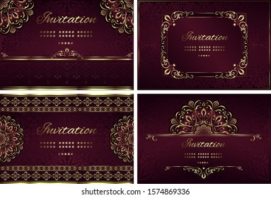 Vintage background mandala card with golden lace ornaments and art deco floral decorative elements