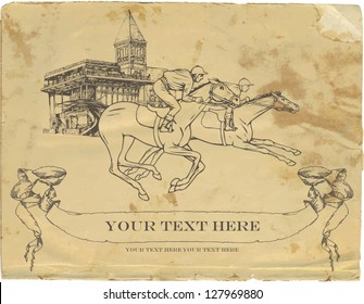 Vintage background, old card with the image of racing, racetrack, jockey and galloping horses, rumpled paper and graphic sketch for design