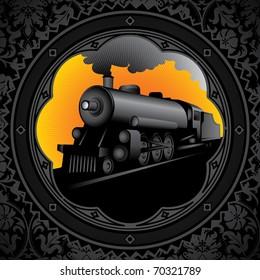 Vintage background with old locomotive. Vector illustration.