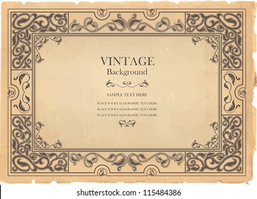 Vintage background, oldfashioned, ripped, grungy paper, ornate, royal, revival frame, old award, victorian ornament, floral luxury ornamental pattern template for decoration and design