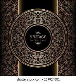Vintage background, ornamental round frame, vector gold label template