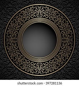 Vintage background, ornamental round frame, vector gold label template